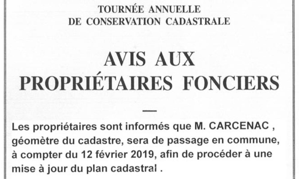 Avis aux propriétaires fonciers Mairie de Launac